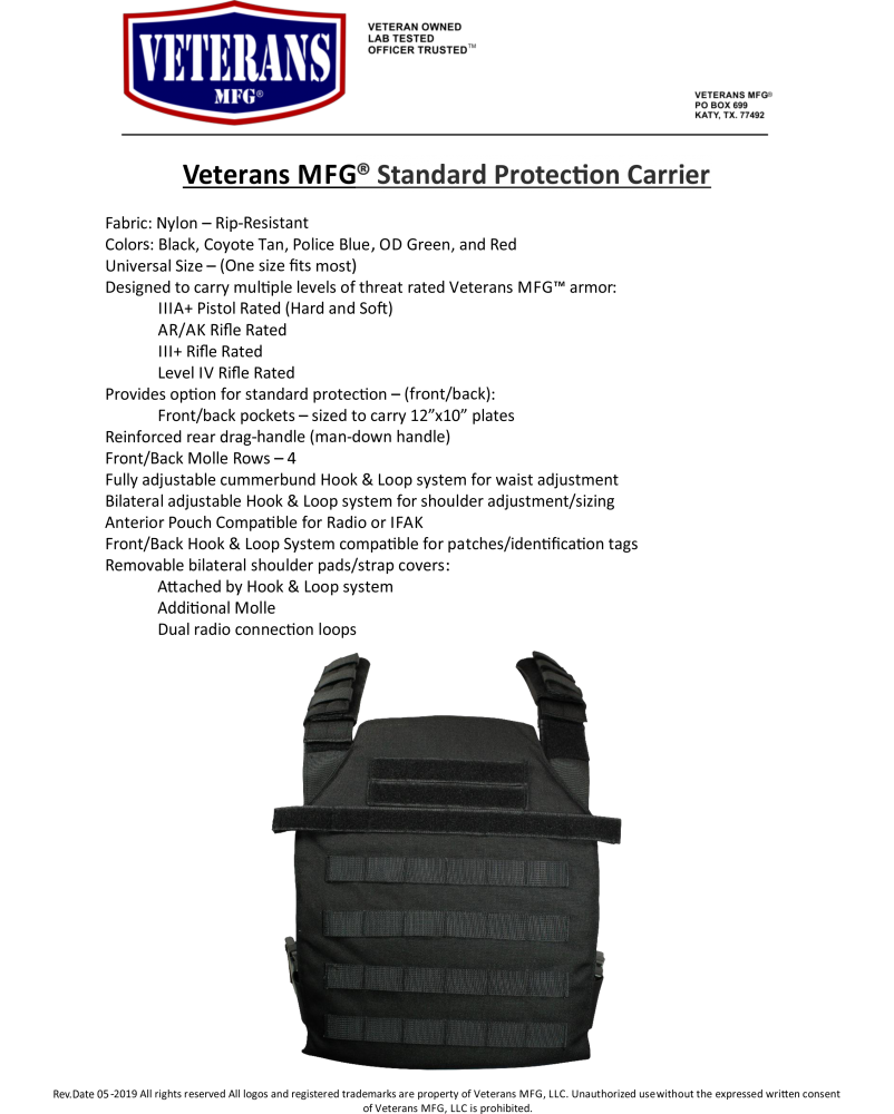 Standard Protection Carrier - Veterans Manufacturing